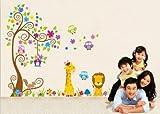 Jungle Zoo: Búho sobre el árbol con la jirafa y el león Parmi los niños para los niños