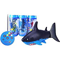 Faironly – Mando a Distancia tiburón Nadador, Mini RC Barco de Pescado eléctrico Juguete, 27 MHz Radio Control, para niños Regalo