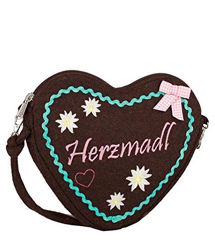 """SIX """"Oktoberfest"""" kleine Damen Handtasche, Umhängetasche mit braunem Lebkuchen-Herz, türkiser Stickerei, Schleife, Wiesn, Dirndl (427-437)"""