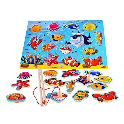 Rolimate Giochi di Pesca Magnetica da 14 Pezzi Puzzle di Legno Giochi Magnetici Giochi di Puzzle Gio