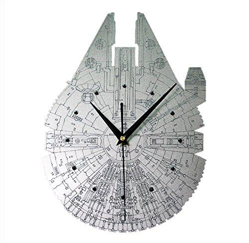 LOTOS - Metall Textur Star Wars Raumschiff Dekoration Stille Quarzuhr (12/14 / 16Inch),16