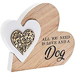 The Leonardo Collection - Placca Decorativa a Forma di Cuore in Legno, con Scritta all You Need Is Love & A Dog