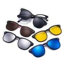 Magntico-5-Piezas-Polarizadas-Clip-en-Gafas-de-Sol-Marco-Plstico-Para-Conduccin-Nocturna