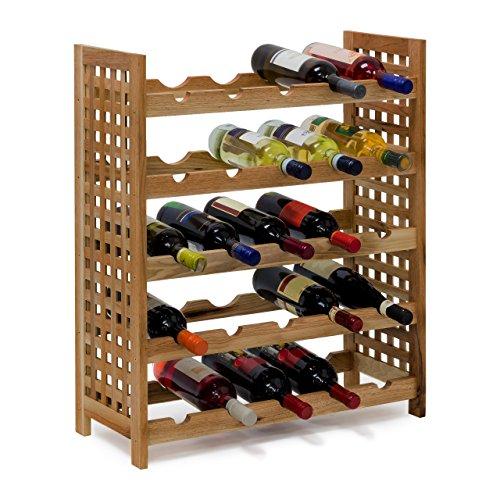 Relaxdays - Cantinetta per Vino in Legno di Noce Oliato 5 Scaffali, Spazio per 25 Bottiglie, 73 X 63...