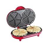 Doppia Piastra per waffle per 10cialde a cuore waffle (cialde a forma di cuore, con rivestimento antiaderente, 1000Watt, Rosso)