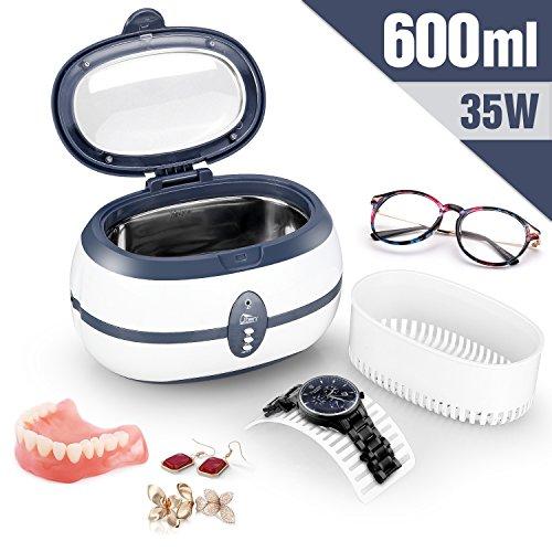 Ultraschallreiniger Reinigingsgerät 600ml Digital Ultrasonic Cleaner Reiniger Edelstahl Ulrtaschallbad mit Uhrenhalter und Reinigungskorb 40,000Hz 35W
