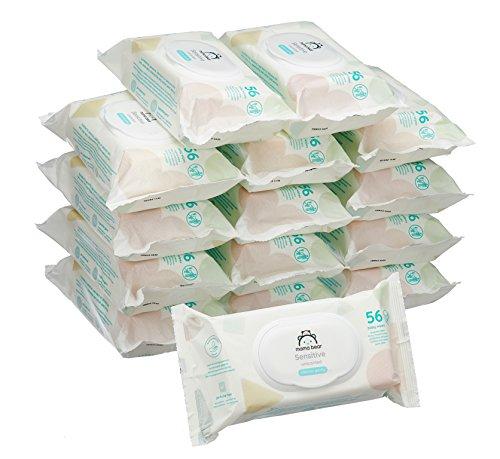 Marchio Amazon -  Mama Bear Sensitive Salviette umidificate per bebè - 15 confezioni x 56 salviette (840 pezzi)