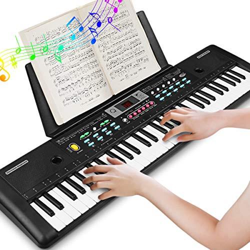 61 Teclado electrónico Teclado portátil, Electrónico Piano con Atril, Micrófono, Fuente de Alimentación, Música Digital, Teclado de Piano para Niños/Adultos