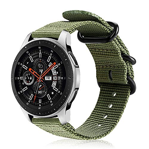FINTIE Cinturino per Galaxy Watch 46mm/Gear S3 Classic/Gear S3 Frontier/Huawei Watch GT Sport, 22 mm Morbido Tessuto di Nylon Sports Watch Band Regolabile con Fibbia Acciaio Inox, Army Green