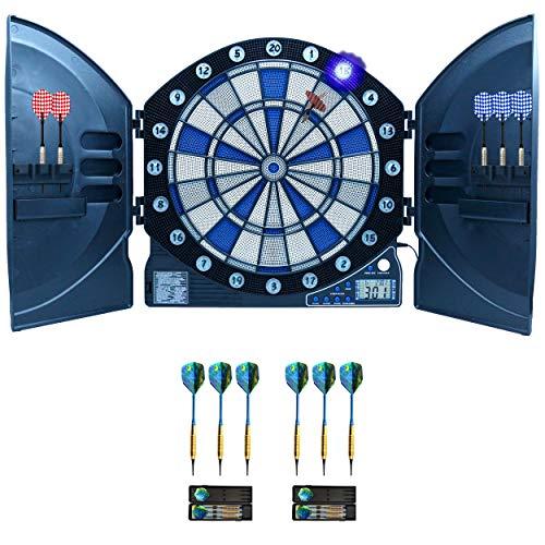 Best Sporting elektronische Dartscheibe Cambridge mit LED beleuchteten Ziffern, Dartautomat mit 6 Dartpfeilen, Dartboard mit Netzteil (Dartscheibe mit 6 Pfeilen + 6 Pfeile 16 g)