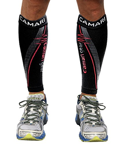 Camari Gear Sports Waden Kompressionsstrümpfe (PAAR) - Calf Sleeves für Männer & Frauen - Wadenbandage für Schnelle Erholung, Bessere Blutzirkulation, Laufen, Radfahren, triathlon, Flugreisen, Krankenschwestern