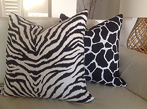 Hose233 - Copricuscino Decorativo con Stampa Animalier, Giraffa e zebrata, Colore: Bianco e Nero