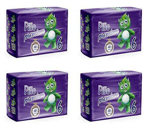 PILLO Premium XL, Taglia 6 (16-30 Kg), 4 Pacchi da 40 (160 Pannolini)