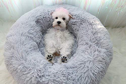 Segle Hundebett,Katzenbett,Rutschfeste Unterseite,Runde Form,Weiches Donut-Haustierbett, luxuriöses Fell-Donut-Design,Verschiedene Größen,Flauschig, Weich,Hundekissen,Hundesofa-grau-60 * 60 * 20m