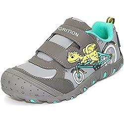 Niños Deportes Zapatos de dinosaurio Primavera Verano, Easy Hook and Loop Strap Trainers Niños Caminando Running School Casual Sneakers Resistente al agua (28 EU, Grey)
