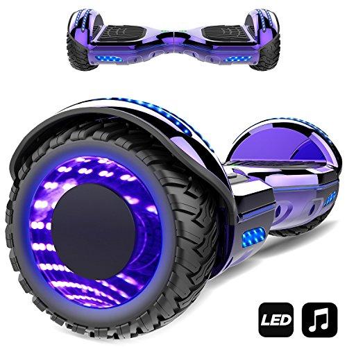 Markboard gyropode 6.5 Pouces Bluetooth MS6, Gyropode avec Pneu à LED de Couleur, Smart Scooter Électrique Auto-équilibrage EL-ES01(Violet)