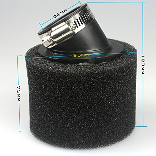 Ali 38mm ciclomotore scooter nero in schiuma per filtro dell' aria 50cc 125cc 150cc Pit Dirt...