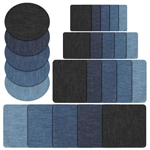 Naler 25pcs Ferro-on-Patch, Denim Fabric Iron on Patches per Jeans Kit di Riparazione Set Art Craft...