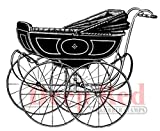Deep Red Stamps 1-Piece 3.25 x 3-inch Cling Stamp Vintage Pram, Deep Red