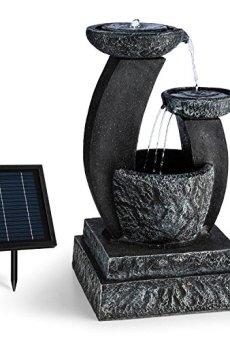 Blumfeldt Fantaghiro Fuente Ornamental de jardín con Panel Solar (Efecto Piedra, poliresina, Juego de Agua 3 Niveles, diseño mágico, miniboma, iluminacion LED, para Interior o Exterior)