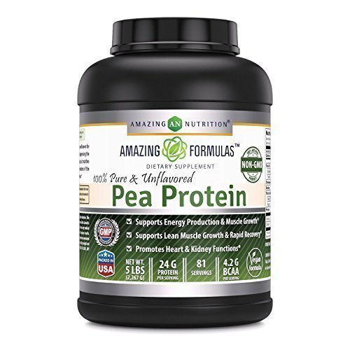 Amazing Nutrition Amazing Formulas 100% Pure & Unflavored Pea Protein Dietary Supplement - 5 lbs - Supports Energy Production and Muscle Growth - Promotes Heart and Kidney Function