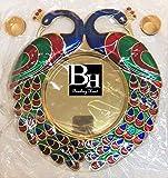 Bombay Haat Designer Golden Pooja Thali / Rakhi Platter /Engagement Ring Platter / Tilak Thali