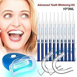 Gel Sbiancante per Denti Teeth Whitening Kit Sbiancamento Denti Denti Bianchi Professionale Pulizia Denti-10x3ML Gel Sbiancante,1xLuce LED,2xVassoio Dentale,1xCarta Colore,6 Sbiancamento Denti Wipe...