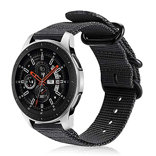 FINTIE Cinturino per Galaxy Watch 46mm/Gear S3 Classic/Gear S3 Frontier/Huawei Watch GT Sport, 22 mm Morbido Tessuto di Nylon Sports Wrist Strap Regolabile con Fibbia Acciaio Inox, Nero