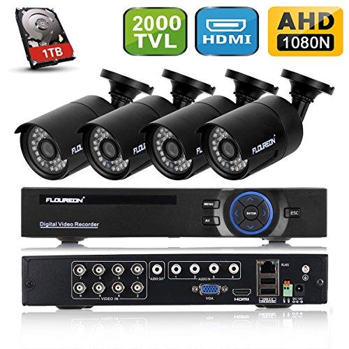 FLOUREON DVR Kit Videosorveglianza (8CH 1080N AHD HDMI DVR + 4 * 960P 2000TVL 1.3MP Telecamera Esterno + 1TB HDD Hard Disk), Backup USB, Allarme Email, Sistema di Sicurezza