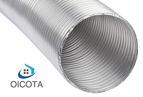 OICOTA 6-inch Chimney Exhaust Pipe, Flexible Aluminium Duct Extended Upto 10 Feet (Silver)