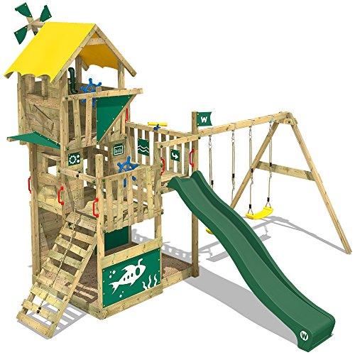 WICKEY Aire de jeux en bois Smart Flight Cabane Tour d'escalade avec 2 sièges de balançoire, toboggan vert, mur d'escalade, bac à sable + Accessoires