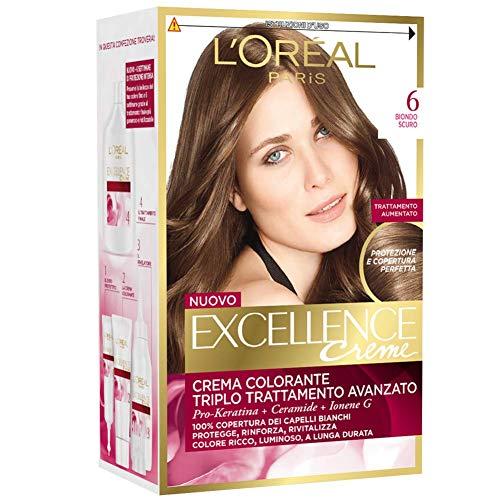 L'Oréal Paris Excellence Creme, Tinta Colorante con Triplo Trattamento Avanzato, Copre i Capelli Bianchi, 6 Biondo Scuro