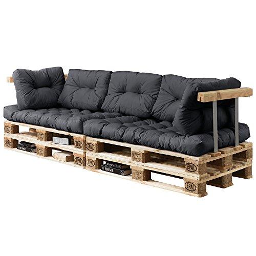 [en.casa] Divano paletta euro-sofá - a 3 posti con cuscino - [grigio scuro] set completo incl. bracciolo e schienale