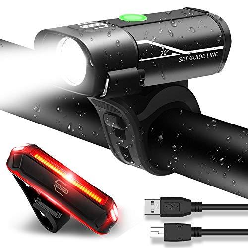 MENERUSKAN Luci Ricaricabili per Bicicletta Set Anteriore e Posteriore Luci a LED per Bici...