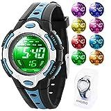 AIKURIO Kinder Digital Uhr 50M Wasserdicht mit 8 LED-Leuchten und Silikon Armband AKR006