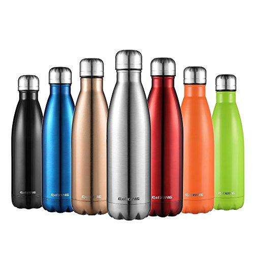 Cmxing Doppelwandige Thermosflasche 500 mL mit Tasche BPA-Frei Edelstahl Trinkflasche Vakuum Isolierflasche für Outdoor-Sport Camping Mountainbike (Silber, 500 mL)