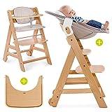 Hauck Beta Plus - Chaise Haute Bébé Évolutive Escalier dès naissance/Inclus Transat pour nouveau-né, Coussin assise, Tablette - hauteur réglable, Bois Clair Natur/Beige
