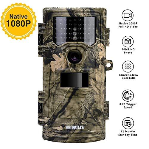 WiMiUS Caméra de Chasse, 20MP 1080P HD 0.2s Vitesse de Déclenchement avec Vision Nocturne 70ft, 3 PIR et 940nm 42pcs LED Infrarouge, 2.4'' LCD IP54 Étanche Appareil Photo Chasse Trail Camera Animaux