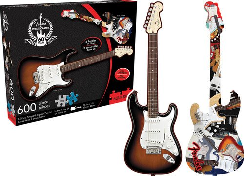 Aquarius Fender Stratocaster Guitar & collage 600PC 2-sided puzzle