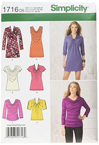 Simplicity Pattern 1716 Misses Knit Mini-Dress, Tunic and Top with Front Variations Sizes 4-6-8-10-12