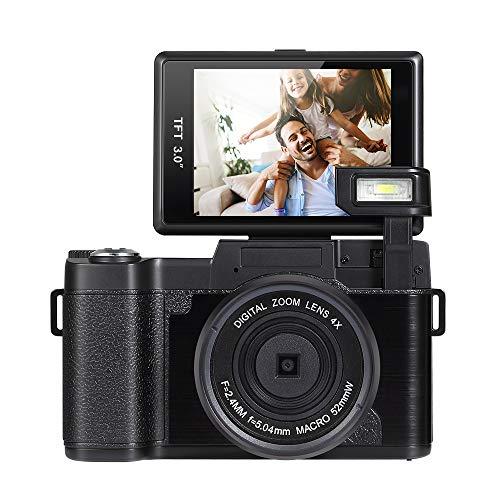 Hoyxel Digitalkamera Camcorder Viedeokamera, EG17 Full HD 1080P 24MP Videokamera mit einziehbarem Blitzlicht 3 Zoll Bildschirm Weihnachten Neujahr Geschenk