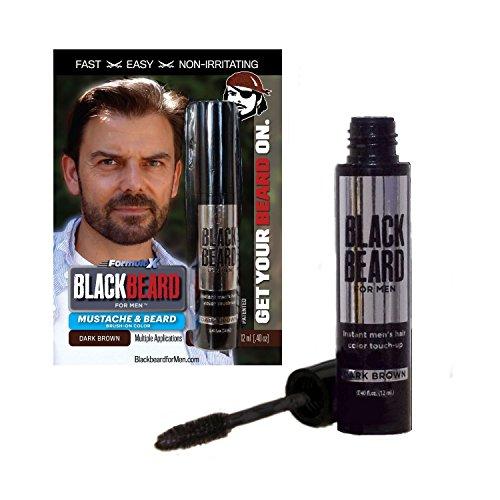 Blackbeard for Men gel colorante per barba e baffi marrone scuro con applicatore a pennello usa e getta, 12 milliliters