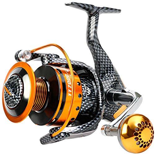 Sougayilang pesca reels- 12+ 1BB, leggero e liscio mulinelli da spinning potente in fibra di carbonio Drag, sale e pesca d' acqua dolce, TT3000