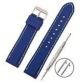 Vinband Cinturino in silicone cinturino caucciù multicolore impermeabile argento fibbia 18, 20, 22, 24 mm   cinturini orologi orologio cinturino (22mm, blu scuro)