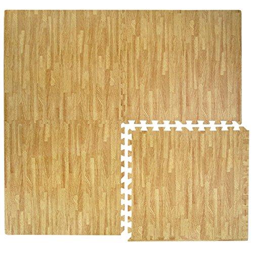 Eyepower Tappeto Puzzle 4 tessere EVA ciascuna 60x60cm color legno Marrone Chiaro