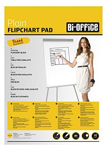 Bi-Office Blocco Per Lavagna di Carta A1, Bianca, 20 Fogli per Blocco, Lato Superiore Perforato, 55...