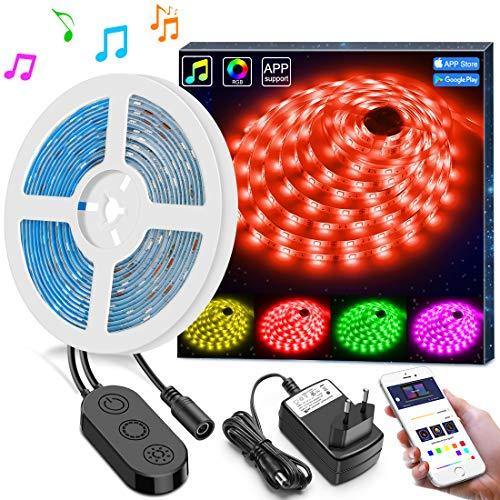 Luci Musicali di Striscia Luminosa a LED con APP, Minger 5M Nastro LED Sync a Luce Musica...