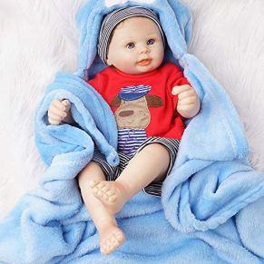 Yesteria Realista Reborn Bebé Muñeco Chico Vinilo Entero Desnudo con Manta Azul 50 cm