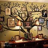 Vinilo decorativo para pared, diseño de árbol gigante, para usar con marcos de fotos familiares, ideal para decoración de habitación de niños, negro, large