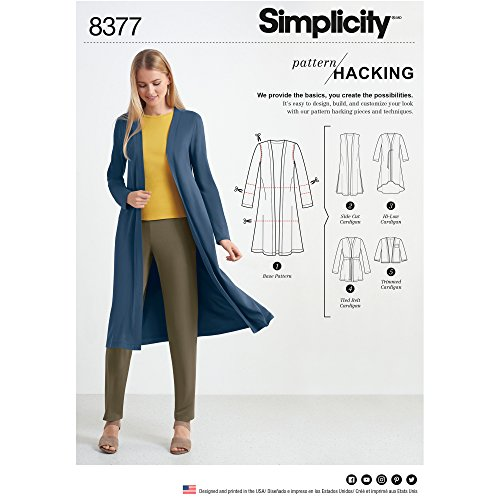 Simplicity Patterns US8377A Misses' Knit Cardigan with Variations & Multiple Piece for Design Hacking Pattern, A (XXS-XS-S-M-L-XL-XXL)